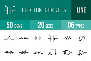 50 Electric Circuits Line Icons
