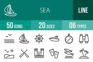 50 Sea Line Icons