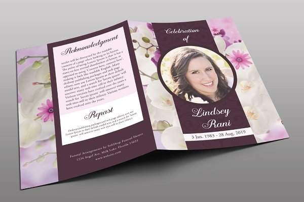 Orchid Funeral Program