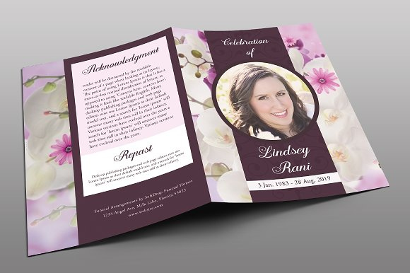 Orchid Funeral Program Brochure Templates Creative Market
