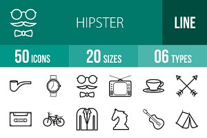 50 Hipster Line Icons