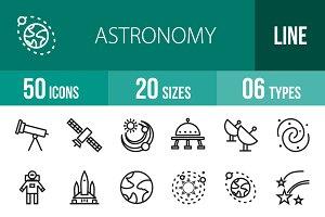 50 Astronomy Line Icons