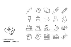 Medical outlines vector icons