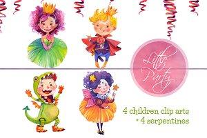 Little Kids Party Watercolor Clipart