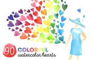 90 colorful watercolor hearts