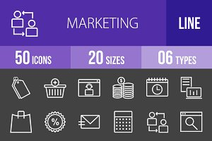 50 Marketing Line Inverted Icons