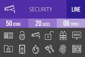 50 Security Line Inverted Icons