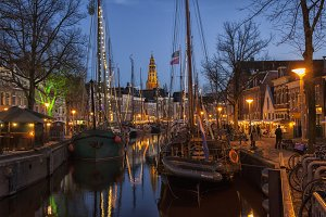 Groningen at night with boats