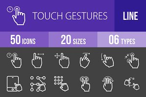 50 Touch Gesture Line Inverted Icons