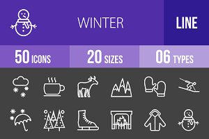 50 Winters Line Inverted Icons