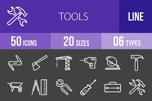 50 Tools Line Inverted Icons