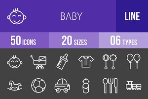 50 Baby Line Inverted Icons