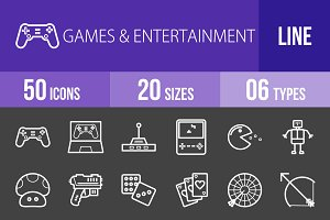 50 Games Line Inverted Icons