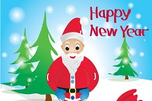 Funny Santa Claus.Vector .
