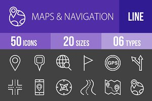 50 Maps Line Inverted Icons