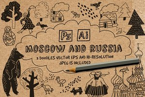 Vector doodles. Moscow and Russia