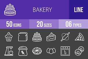 50 Bakery Line Inverted Icons
