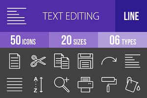 50 Text Editing Line Inverted Icons