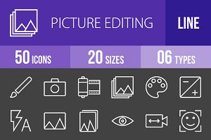 50 Picture Edit Line Inverted Icons