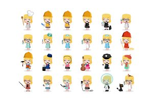 24 x Professions Vector little Girls