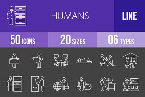 50 Humans Line Inverted Icons