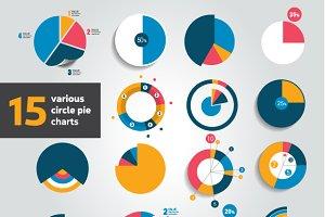 15 various circle pie charts