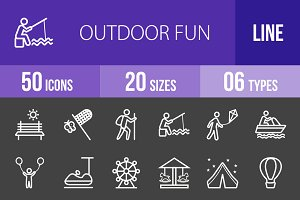 50 Outdoor Fun Line Inverted Icons