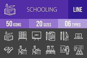 50 Schooling Line Inverted Icons