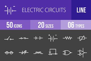 50 Circuits Line Inverted Icons