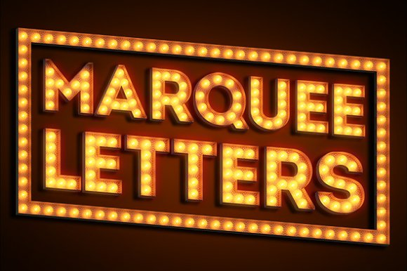 marquee letter font marquee letters objects creative market 23578 | preview1