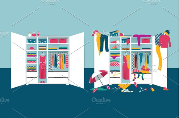 Open wardrobe. Tidy and untidy room. - Illustrations