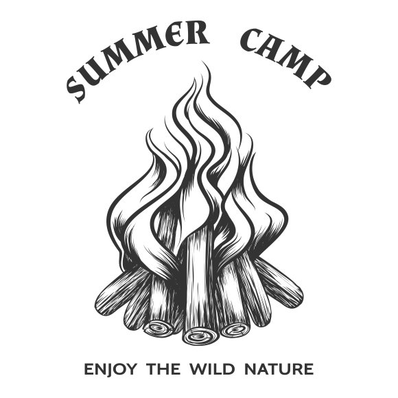 Poster with hand drawn campfire ~ Graphics ~ Creative Market