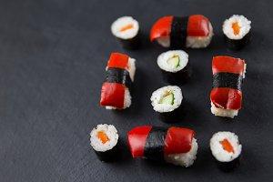 Sushi on slate