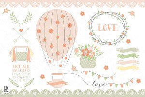 Hot air balloons, roses, ribbons