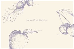 Vector Engraved Fruits