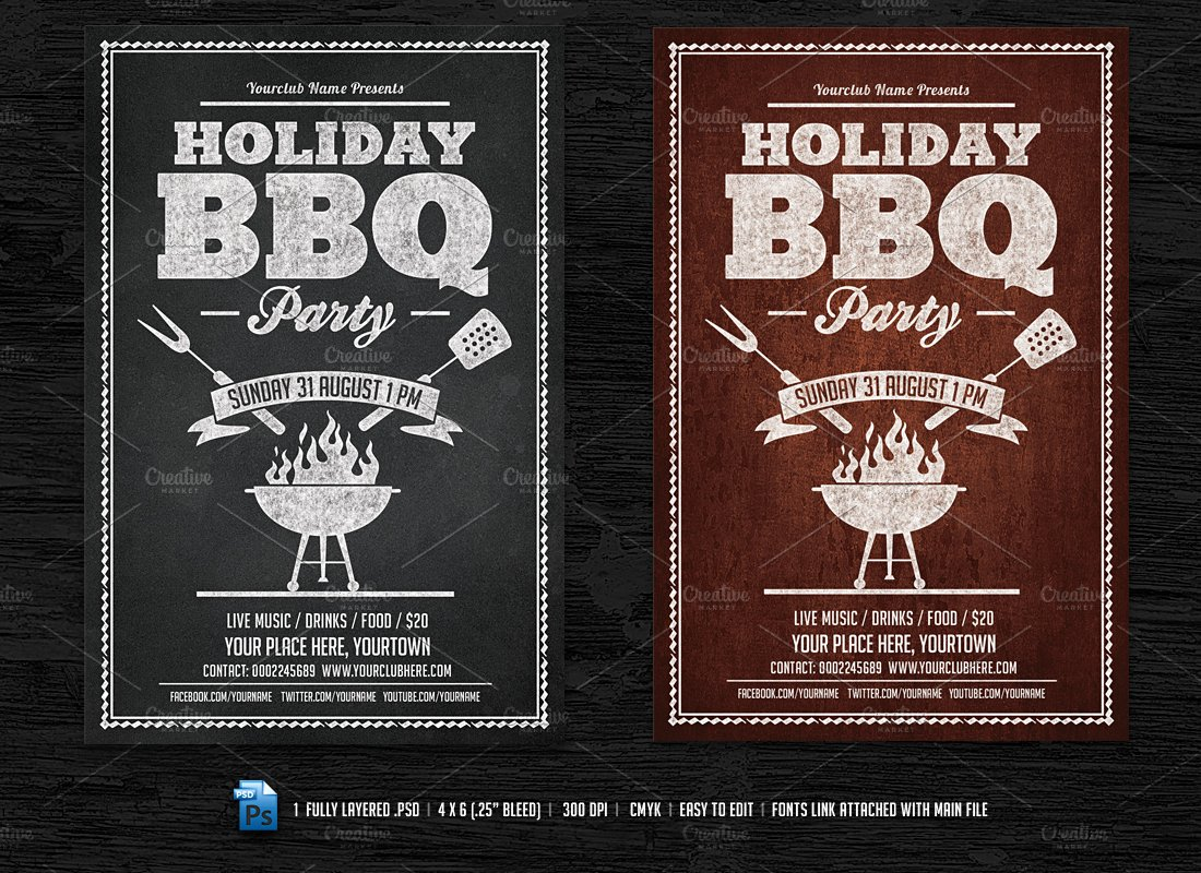 holiday bbq flyer facebook cover flyer templates creative market