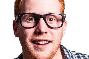 Redhead nerd isolated
