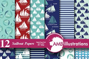 Sailboat Digital Papers AMB-395