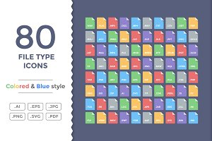 80 Flat File Type Icons