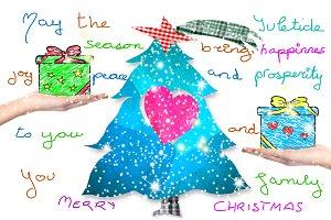 Christmas postcard with handwriting