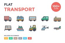 100+ Flat Transport Icons Set