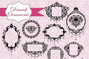 Damask Frames Clipart & Vectors