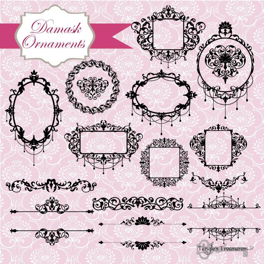 Damask Frames Clipart & Vectors ~ Illustrations ~ Creative Market
