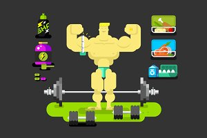 Bodybuilder character flat