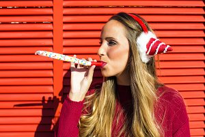 Woman with earmuffs Christmas
