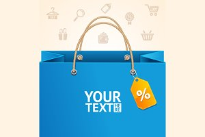 Paper Bag Background Sale. Vector