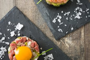 Steak tartar and salmon tartar