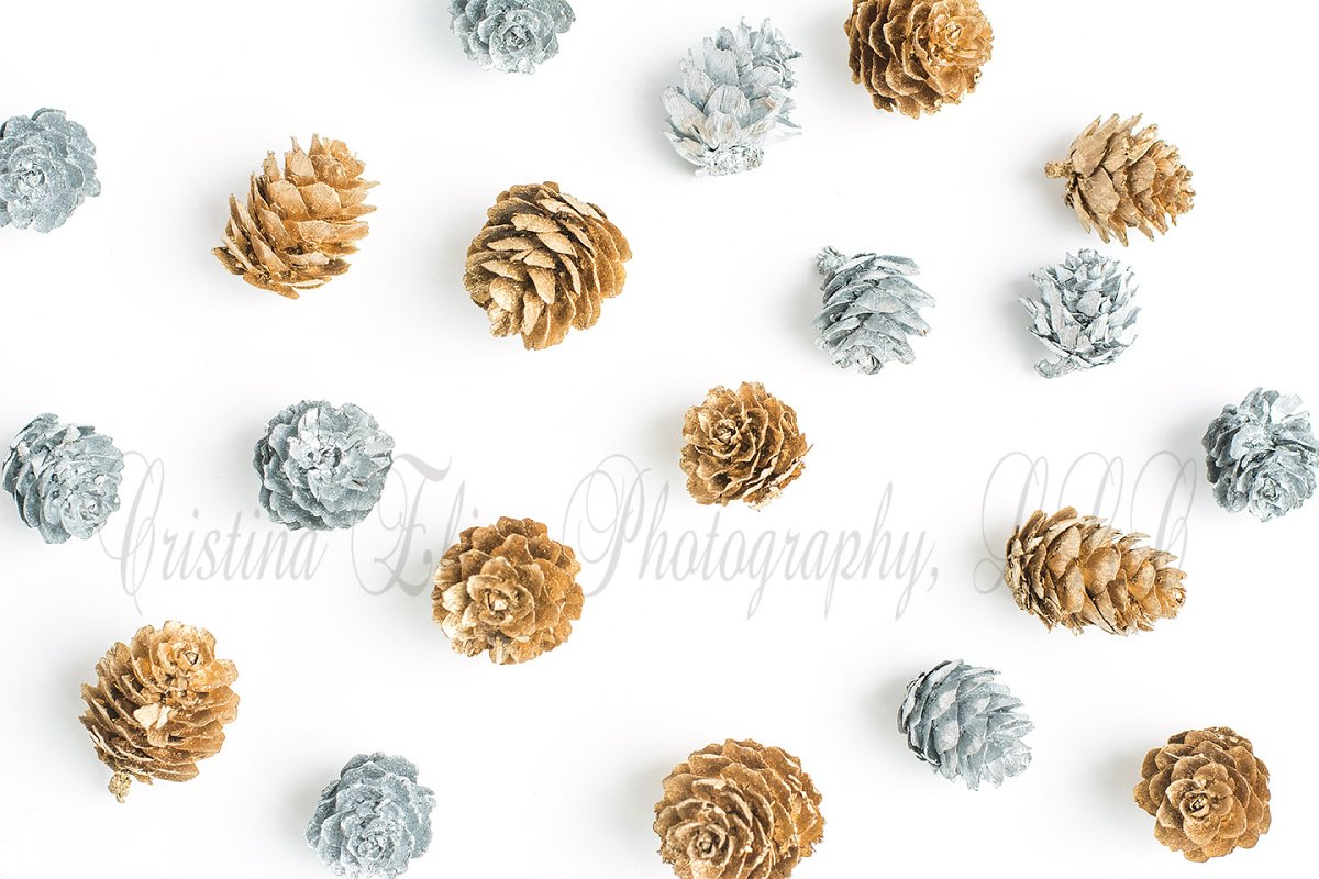 eb90dff27f84 Silver   Gold Pinecone Background ~ Product Mockups ~ Creative Market