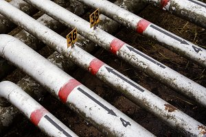 old pipes with painted arrows