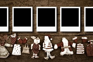 Five empty Christmas photo frames ca